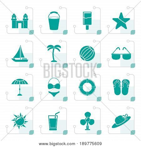 Stylized Beach, sea and holiday icons - vector icon set