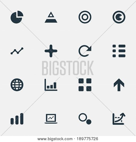 Vector Illustration Set Of Simple Diagram Icons. Elements Dartboard, Segment, Coordinate Axis And Other Synonyms Statistic, Coordinate And Circle.