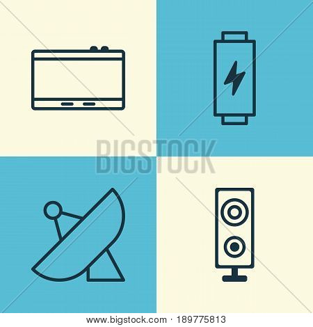 Device Icons Set. Collection Of Gadget, Charge, Antenna And Other Elements. Also Includes Symbols Such As Energy, Phone, Antenna.
