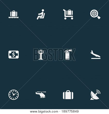 Vector Illustration Set Of Simple Plane Icons. Elements Seat, Baggage Cart, Currency And Other Synonyms Alighting, Conveyor And Cart.