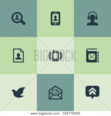 Vector Illustration Set Of Simple Communication Icons. Elements Smartphone Calling, Selfie, Address Book And Other Synonyms Phone, Selfie And Job.