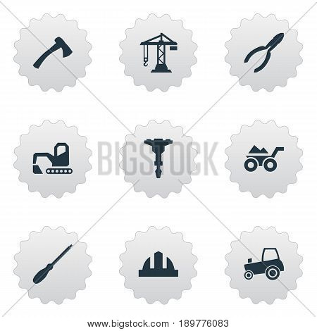 Vector Illustration Set Of Simple Build Icons. Elements Loaded Trolley, Hatchet, Digger And Other Synonyms Hardhat, Drill And Cart.