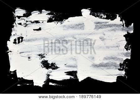 Grunge brush strokes of white oil paint -- abstract background