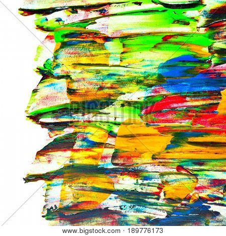 Colourful painted texture. Abstract background with isolated edge