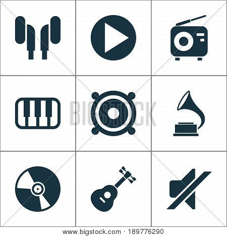 Multimedia Icons Set. Collection Of Earmuff, Phonograph, Tuner And Other Elements. Also Includes Symbols Such As Musical, Play, Speaker.