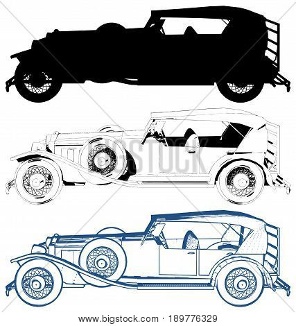 Antique Car Illustration Isolated On White Vector