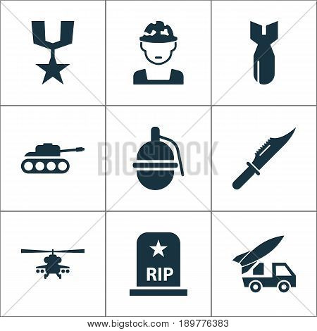 Combat Icons Set. Collection Of Order, Rocket, Ordnance And Other Elements. Also Includes Symbols Such As Ordnance, Panzer, Bomb.