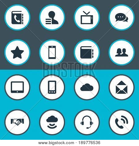 Vector Illustration Set Of Simple Network Icons. Elements Headphone, Telly, Letter And Other Synonyms Cloud, Directory And Address.