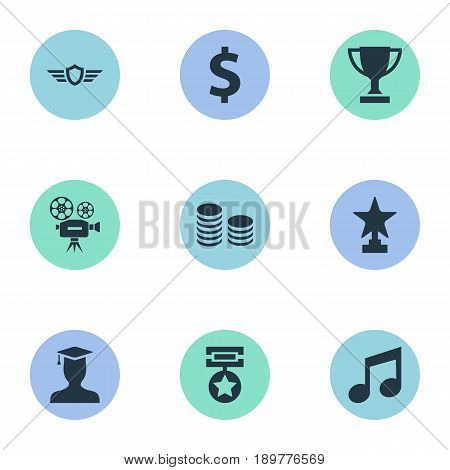 Vector Illustration Set Of Simple Reward Icons. Elements Postgraduate, Money, Melody And Other Synonyms Award, Money And Greenback.