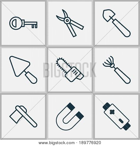Instrument Icons Set. Collection Of Password, Putty, Attraction And Other Elements. Also Includes Symbols Such As Pitchfork, Scoop, Polarity.