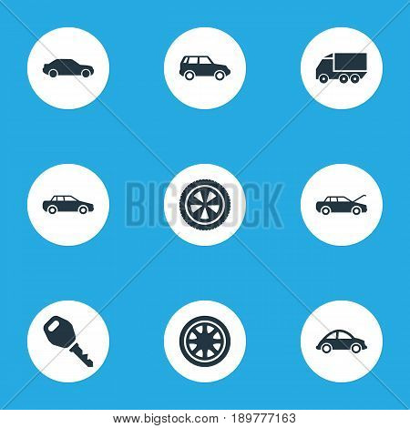 Vector Illustration Set Of Simple Transport Icons. Elements Vehicle, Turtle Transport, Key And Other Synonyms Car, Automotive And Transport.