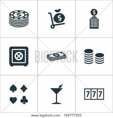 Vector Illustration Set Of Simple Gambling Icons. Elements Bet, Slot Machine, Cash And Other Synonyms Sac, 777 And Rate.