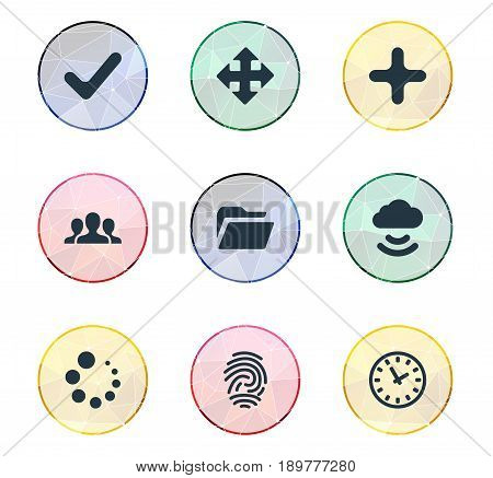 Vector Illustration Set Of Simple Practice Icons. Elements Loading, Dossier, Watch And Other Synonyms Extend, Check And Process.