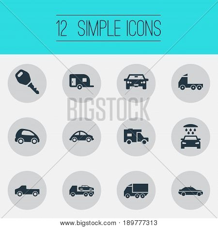 Vector Illustration Set Of Simple Automobile Icons. Elements Siren, Camion, Carriage And Other Synonyms Caravan, Trailer And Motorcar.