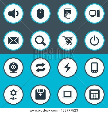 Vector Illustration Set Of Simple Notebook Icons. Elements Battery, Select, Floppy Disk And Other Synonyms Begin, Cursor And Count.