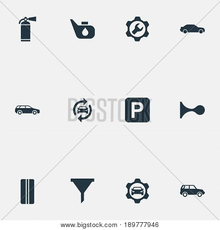 Vector Illustration Set Of Simple Vehicle Icons. Elements Workshop, Auto, Road Sign And Other Synonyms Oil, Fire And Auto.