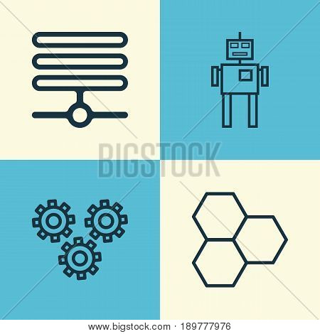 Robotics Icons Set. Collection Of Cyborg, Information Components, Mechanism Parts And Other Elements. Also Includes Symbols Such As Toy, Machine, Information.