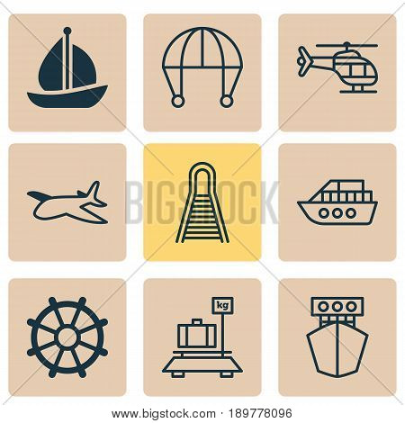 Transportation Icons Set. Collection Of Railway, Boat, Sailboat And Other Elements. Also Includes Symbols Such As Extreme, Marine, Train.