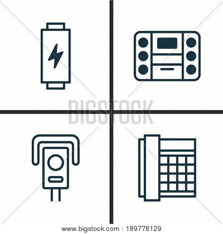 Icons Set. Collection Of Charge, Boombox, Work Phone And Other Elements. Also Includes Symbols Such As Camera, Office, Control.