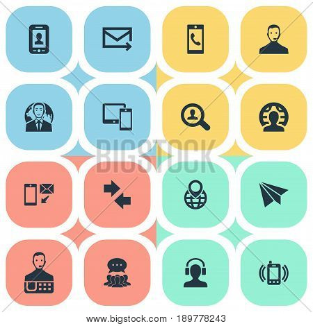 Vector Illustration Set Of Simple Connect Icons. Elements Left Right Arrows, Wireless Gadgets, Collective Opinion And Other Synonyms Phone, Businessman And Helpline.