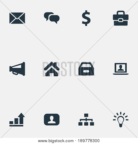 Vector Illustration Set Of Simple Trade Icons. Elements Admin, Suitcase, Lamp And Other Synonyms Graph, Portfolio And Loudspeaker.