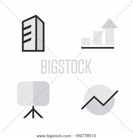Vector Illustration Set Of Simple Business Icons. Elements Growing, Apartment, Easel And Other Synonyms Increase, Architecture And Apartment.