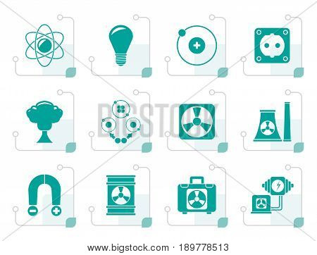 Stylized Atomic and Nuclear Energy Icons - vector icon set