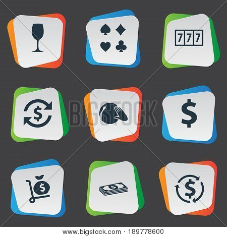 Vector Illustration Set Of Simple Roulette Icons. Elements Money Flow, Card Suits, Slot Machine And Other Synonyms Juice, Slot And Win.