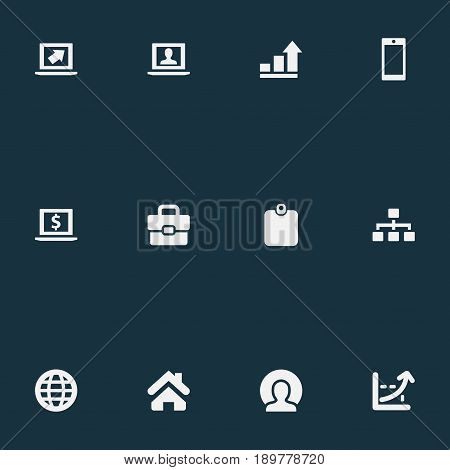 Vector Illustration Set Of Simple Job Icons. Elements Analytical Report, Admin, Increase And Other Synonyms Portfolio, Hierarchy And Earth.