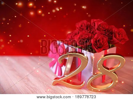 birthday concept with red roses in the gift on wooden desk. 3D render - twenty-eighth birthday. 28th