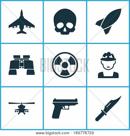 Battle Icons Set. Collection Of Glass, Dangerous, Military And Other Elements. Also Includes Symbols Such As Bomb, Cranium, Oficer.