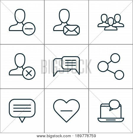 Social Icons Set. Collection Of Online Chatting, Team, Online Letter And Other Elements. Also Includes Symbols Such As Instant, Mail, Group.