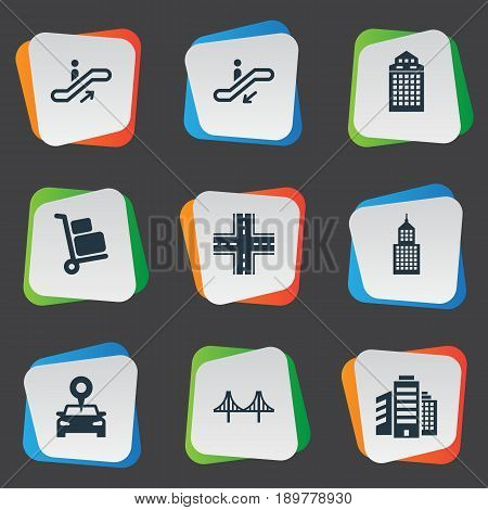 Vector Illustration Set Of Simple City Icons. Elements Staircase, Escalator, Skyscraper And Other Synonyms Megapolis, Direction And Staircase.