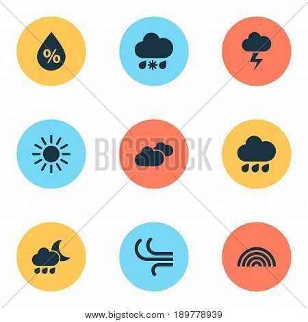 Air Icons Set. Collection Of Moisture, Colors, Breeze And Other Elements. Also Includes Symbols Such As Lightning, Breeze, Overcast.