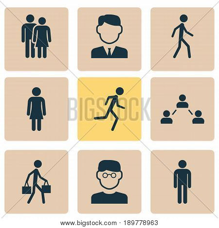 Person Icons Set. Collection Of Gentleman, Jogging, Running And Other Elements. Also Includes Symbols Such As Businessman, Mister, Running.
