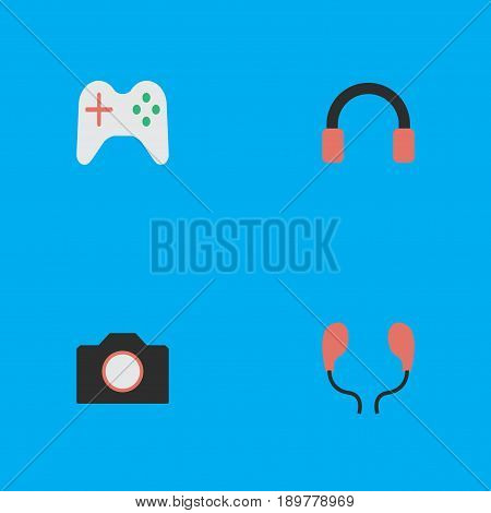 Vector Illustration Set Of Simple Gadget Icons. Elements Earphone, Photo Apparatus, Headphone And Other Synonyms Headset, Gamepad And Joystick.