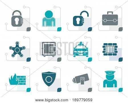 Stylized social security and police icons - vector icon set