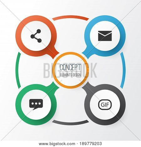 Social Icons Set. Collection Of Gif Sticker, Letter, Publish And Other Elements. Also Includes Symbols Such As Network, Bubble, Letter.