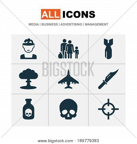 Battle Icons Set. Collection Of Fugitive, Aircraft, Cranium And Other Elements. Also Includes Symbols Such As Cranium, Rocket, Soldier.