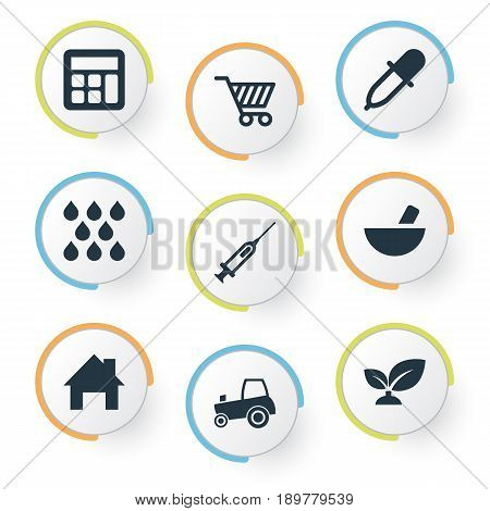 Vector Illustration Set Of Simple Agricultural Icons. Elements Calculator, Sprout, Cart And Other Synonyms Sprout, Calculator And Local.