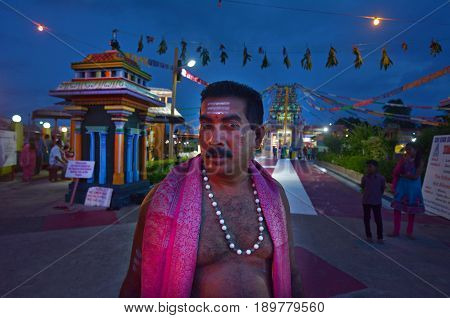 Indo-fijian Man Visit At Sri Siva Subramaniya Hindu Temple In Nadi Fiji