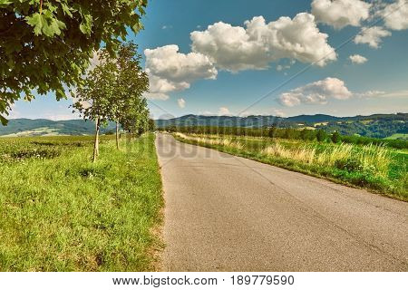Narrow road through a farmland area in Czech Republic