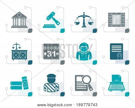 Stylized Justice and Judicial System icons - vector icon set