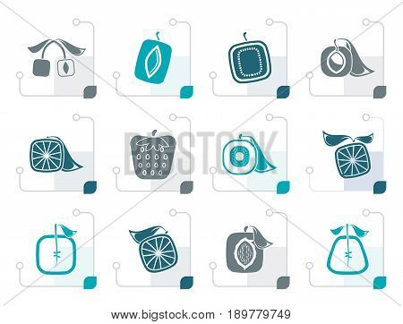 Stylized Abstract square fruit icons - vector icon set