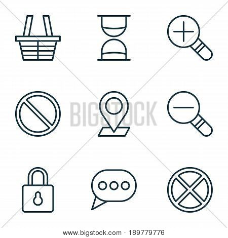 Web Icons Set. Collection Of Pinpoint, Obstacle, Hourglass And Other Elements. Also Includes Symbols Such As Bubble, Exit, Sand.