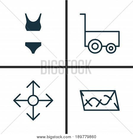 Travel Icons Set. Collection Of Bathing Costume, Freight Trolley, Direction Arrows And Other Elements. Also Includes Symbols Such As Underwear, Clothes, Way.