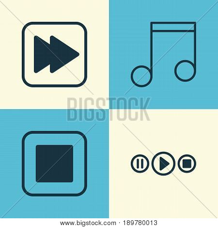 Multimedia Icons Set. Collection Of Following Song, Stop Button, Note And Other Elements. Also Includes Symbols Such As Button, Play, Stop.