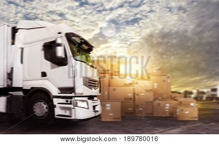Truck in a deposit with packages ready to start to deliver