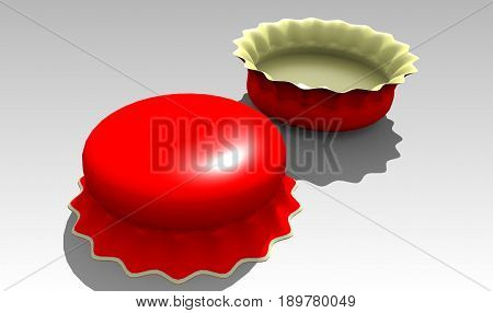 Two bottle caps. 3D model. Illustration. Pair of bottle caps
