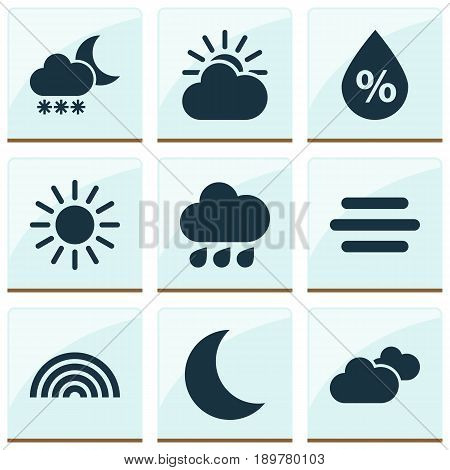 Air Icons Set. Collection Of Rainy, Colors, Weather And Other Elements. Also Includes Symbols Such As Sunny, Cloud, Weather.